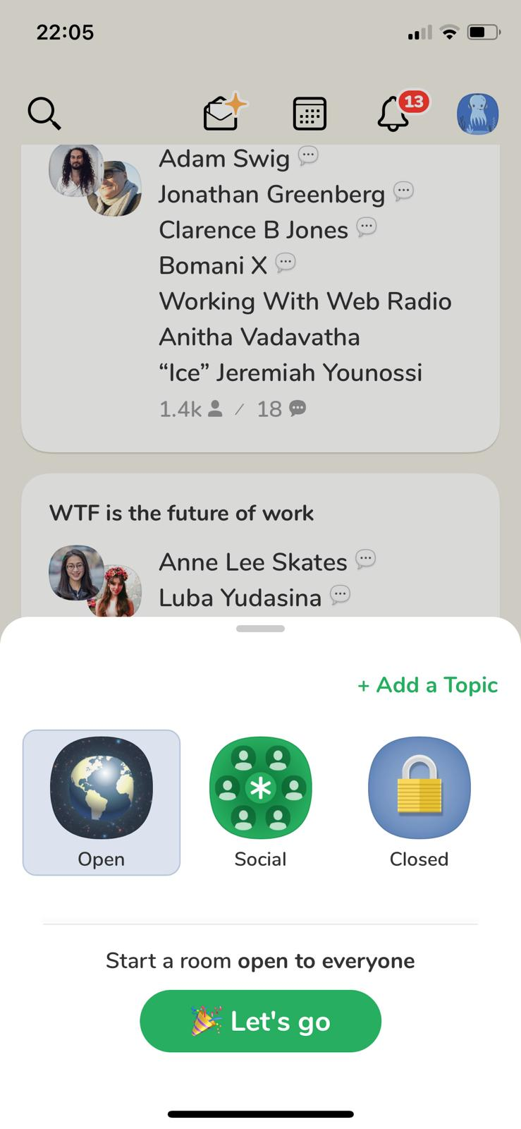 clubhouse screenshot privacy based social network